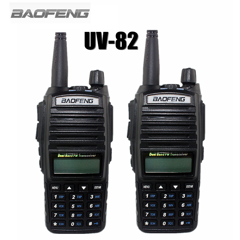 2-PCS BAOFENG UV-82 Walkie Talkie 5W VHF UHF Handheld Transceiver Receiver CB Radios FM Dual PTT Ham Amateur Two Way Radio UV82