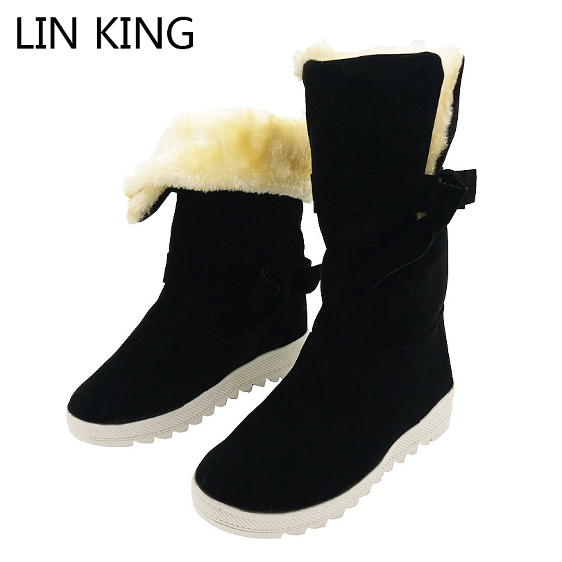 LIN KING Fashion Women Winter Boots Warm Plush Wedges Shoes Bowtie Lolita Creepeers Ankle Boots Suede Leather Martin Boots lin king womens faux leather ankle boots platform high heel booties for women fashion buckle winter dress shoes martin boots