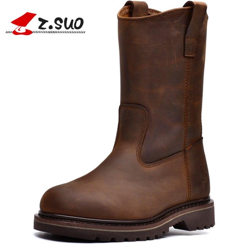 Z. SUO/мужские ботинки. Кожаные мужские мотоциклетные ботинки, высокого качества в трубки ретро модные ковбойские сапоги мужские Botas Hombre Zsgty16009