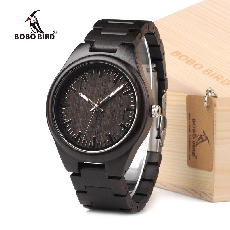 BOBO BIRD Fashion Ebony Black Wood Casual Quartz Watch Top Designer With Wood Straps Different Wood Watch Dials With Gift Box bobo bird full round vintage ebony wood case men watch with wood face with ebony wood strap japanese movement quartz in gift box