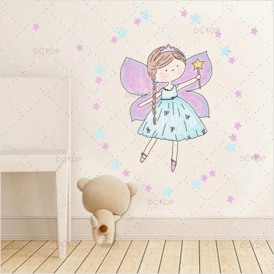 Cartoons Fariy And Star Colorful Wall Sticker For Girls Child Room Wall Art Decor Diy Wall Decals Poster Kindergarten Home Decor