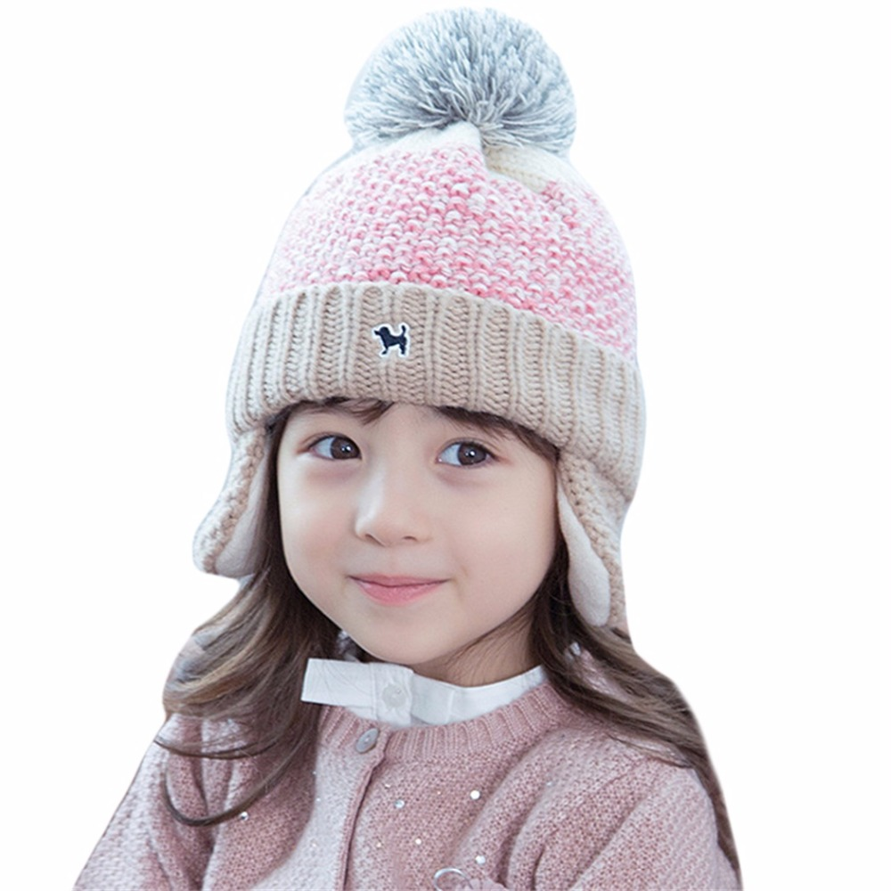 Fashion Baby Pom Pom Hat Thread Wool Knitted Winter Cap For Kids Beanie Boys Girls Children Caps Gradient Woolen Bonnet Gorro the new children s cubs hat qiu dong with cartoon animals knitting wool cap and pile