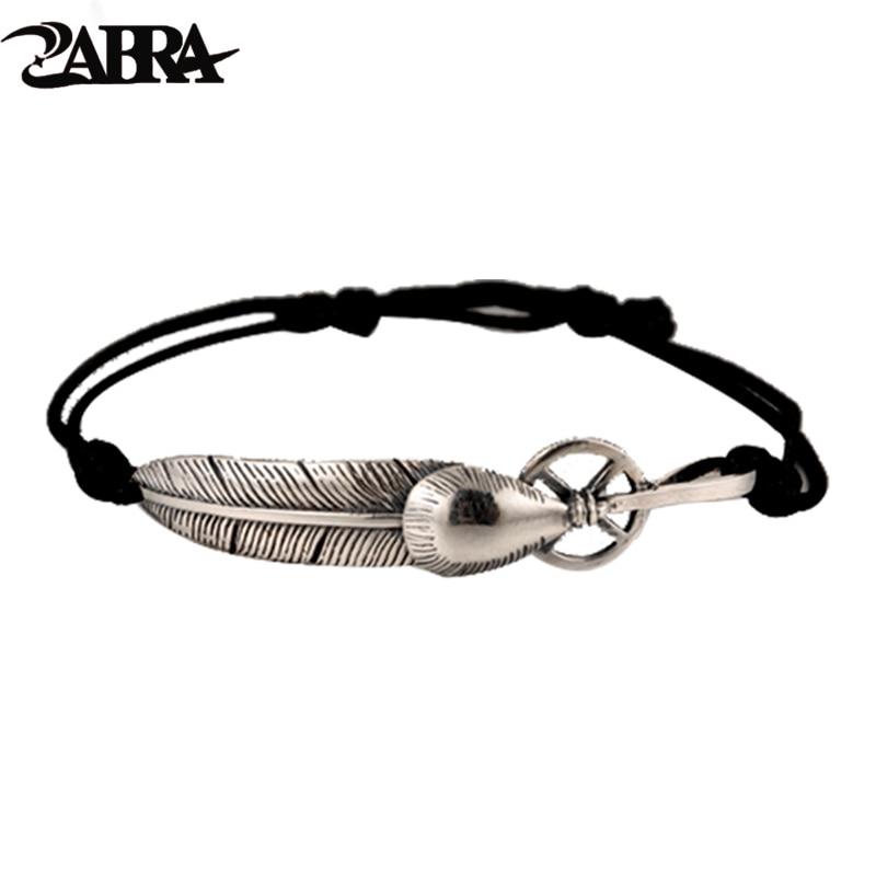 ZABRA Real 925 Silver Bracelet For Men Women Feather Vintage Punk Rock Bracelets Bangle Handmade Sterling Jewelry цена
