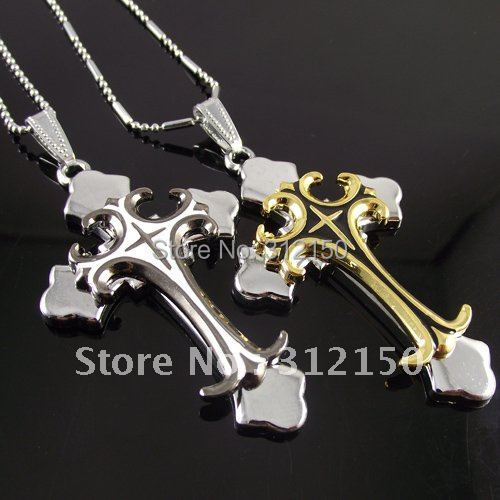 12pcs/lot necklace stainless steel best selling steel big men's cross style pendant mens pendant Double Cross Gold and White