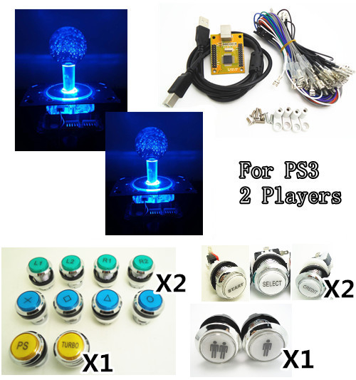 1 kit of 5V LIGHTING Arcade to USB controller 2 player MAME Multicade Keyboard Encoder, silver plated lighted Illuminated Button 2 player mame arcade usb kit pc ps3 2 in 1 usb encoder to joysticks 4 8 way