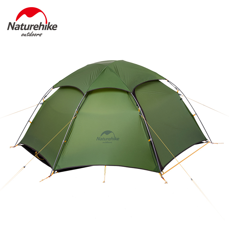 Naturehike 20D Silicone Fabric Double Layers With Waterproof Tent 2 Person Outdoor Camping hiking 4 Season Double Layer Tent naturehike 3 person camping tent 20d 210t fabric waterproof double layer one bedroom 3 season aluminum rod outdoor camp tent