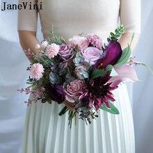 JaneVini, ramos De boda artificiales Vintage para damas De honor, flores púrpuras y rosadas, Ramo De flores artificiales para Novia, Ramo De Novia