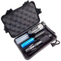 Lumens fortes portátil lente do kit luz do flash t6 led lanterna foco zoom lâmpada handy com caixa de presente preta/18650 bateria/carregador