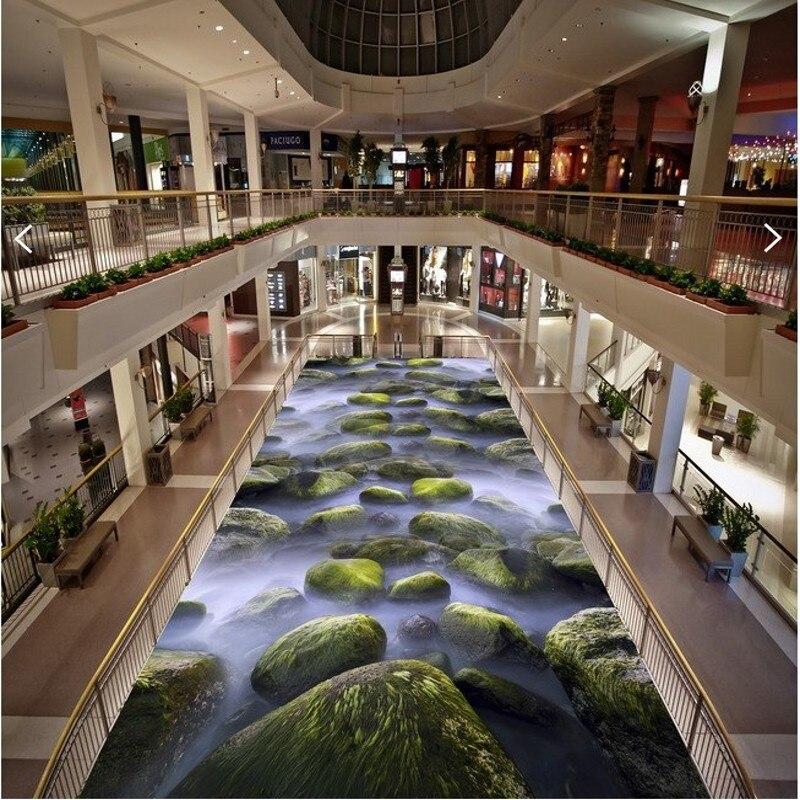 Beibehang papier de parede personnalisé allée peinture au sol autocollants jet d'eau peinture murale plancher salle de bains papier peint mural