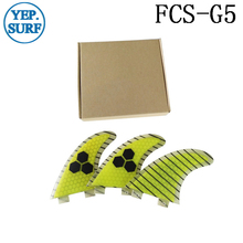Quilhas Surf FCS Carbon Fins G5 Yellow Honeycomb Fin Free Shipping