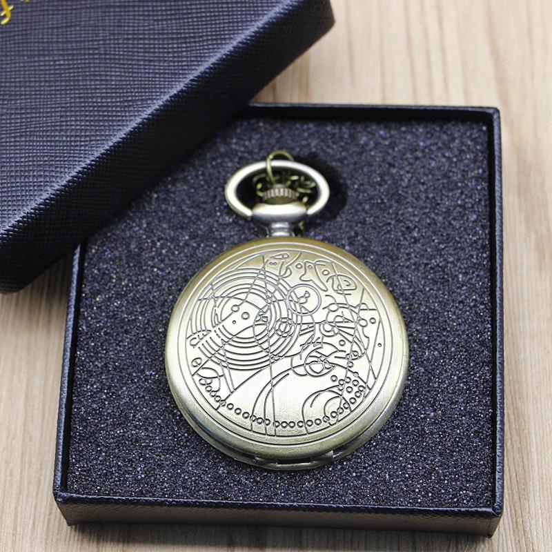 Brand Vintage Bronze Doctor Who Quartz Pocket Watch Best Gift Necklace Pendant Steampunk Watch Sets#121302