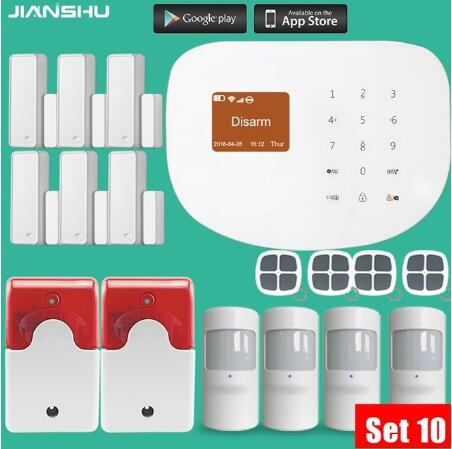 433MHZ WIFI  GSM App remote Control system PIR Motion Detector Alarm Wireless  indoor  Flash Siren Security Burglar Alarm System fuers wifi gsm sms home alarm system security alarm new wireless pet friendly pir motion detector waterproof strobe siren