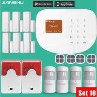 WIFI Phone App Remote Control System PIR Motion Detector Alarm Wireless Home Led Flash Light Siren