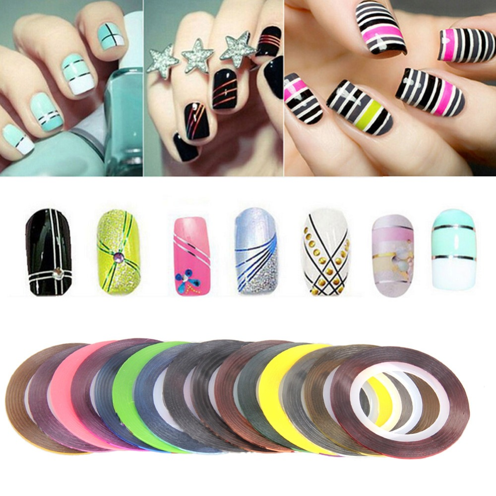 ⃝30 Multicolor Mixed Colors Rolls Nail Art Roller Sticker Striping ...