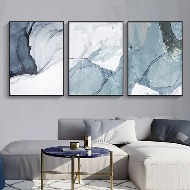 Abstract Marble Canvas Print Paintings Light Blue Poster Nordic