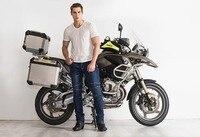 2017 Высокое качество рок Байкер Мотоцикл Джинсы падение сопротивления Тонкий джинсы Автогонки Штаны мотоциклетные Штаны мужской модели