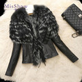 MisShow New Fashion Black Leather Jacket Women With Fur Collar Long Sleeve Ladies Faux Fur Coat Plus Size 6XL Giacca Pelle Donna