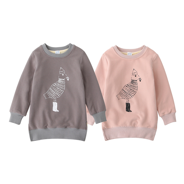 Baby Girls Fashion Hoodies Autumn Spring Character Birds Kids Full Sleeve O-Neck Sweatshirts Children Casual Clothing 5pcs/LOT