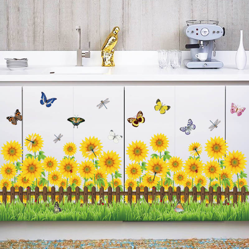 [Fundecor] Sunflower Fence Butterfly Wall Stickers For Kids Rooms Bedroom  Kitchen Home Decor Wall