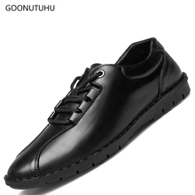 2019 new fashion men's shoes casual genuine leather classic black shoe man youth shoes for male trend lace-up platform shoes men цена