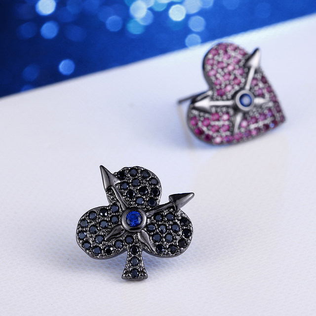 225e7db43 100% 925 sterling silver black love tree shiny crystal ladies`stud earrings  wholesale Anti allergy female Valentine gift