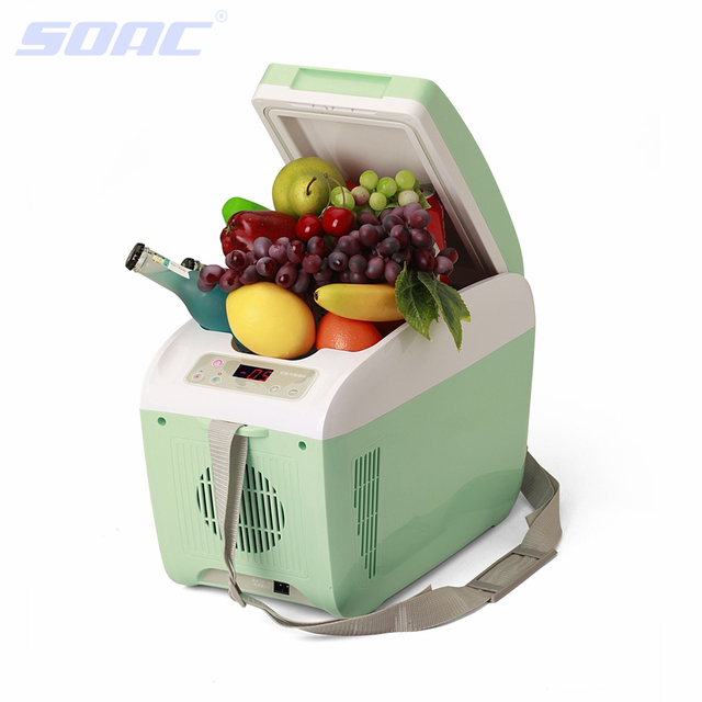 Green Car Refrigerator 12V Fridge Cooler Bag Travel Freezer Car Accessories 8 Liter Auto Travel Box for Truck 220V Interior