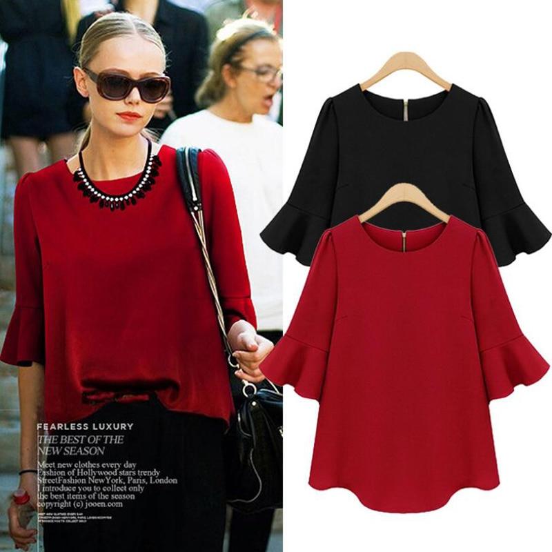 Zwart Rood Big size chiffon blouse 2018 Zomer flare mouwen casual losse shirt M L XL XXL XXXL 4XL 5XL plus size vrouwen kleding