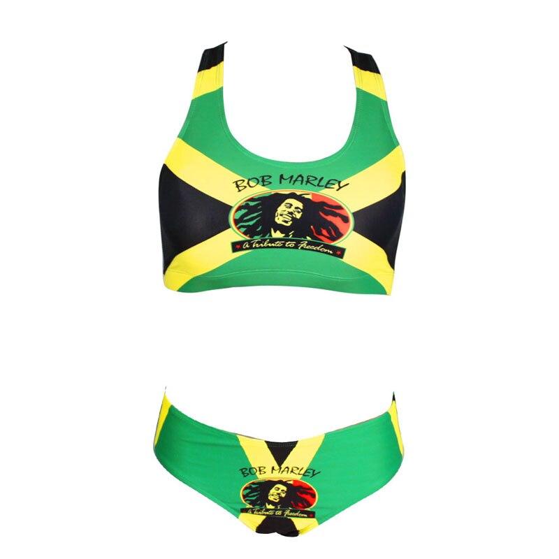 4050314ffb5 Sexy Caribbean Jamaica flag Rasta Two Piece Bikini SWIMSUIT SWIMWEAR size S  M L XL XXL-in Body Suits from Sports   Entertainment on Aliexpress.com