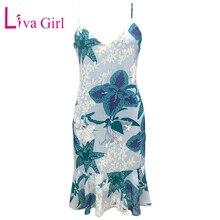 LIVA GIRL Summer Bohemina Floral Print Dress Woman Sexy V Neck Sleeveless Chiffon Dresses Boho Spaghetti Strap Flower Midi