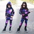 Bebé Ropa de Las Niñas Juegos Estrella Mágica de Color Suéter de Los Cabritos Hoodies + Pant Los Niños Del Chándal Para Niños Clothing Sets Chicas Deporte trajes