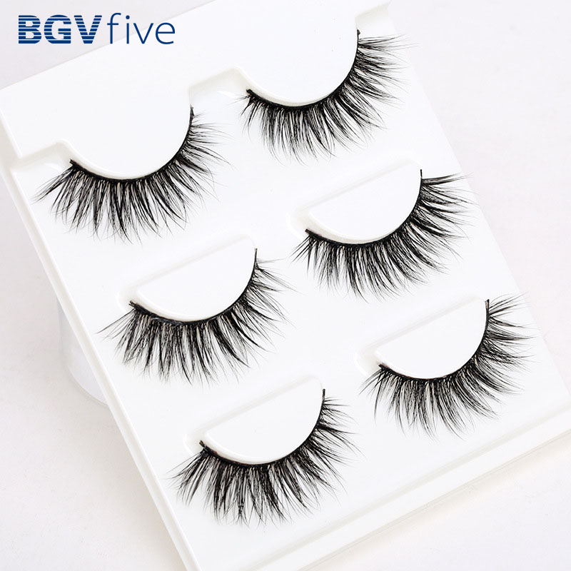 Support wholesale 3 Pair 3D Natural Bushy Cross False Eyelashes Mink Hair Eye Lashes Black