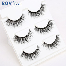 Support wholesale&single Sell 3 Pair 3D Natural Bushy Cross False Eyelashes Eye Lashes Black