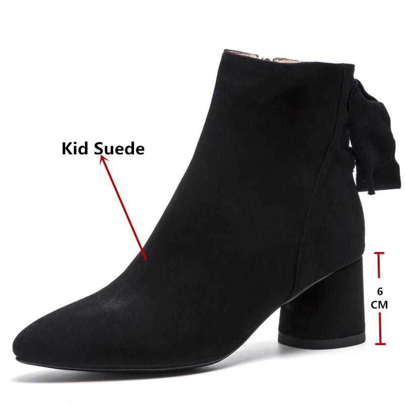 FEDONAS marca mujer tacones cuadrados Mujer Zapatos Mujer cuero genuino Otoño Invierno corto botas básicas señoras nuevas botas de tobillo-in Botas hasta el tobillo from zapatos    3