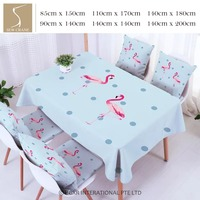 SewCrane Pink Flamingos On Dots Blue Table Cloth Home Living Cotton Linen Tablecloth
