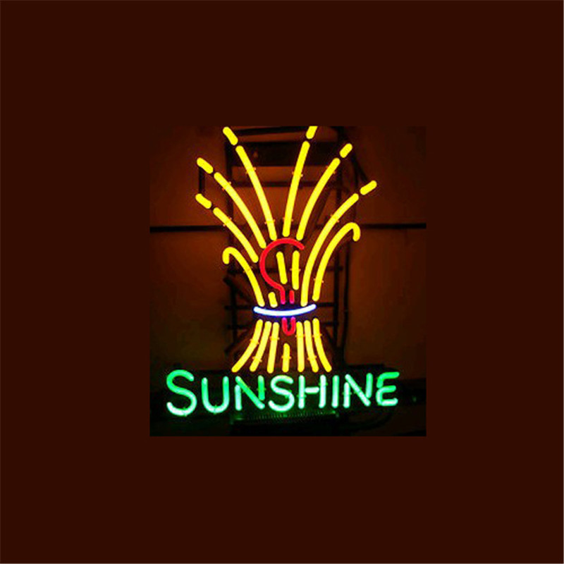 "17*14""  SUNSHINE NEON SIGN Signboard REAL GLASS BEER BAR PUB  Billiards display  Restaurant  Shop outdoor Light Signs"