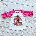 Meninas do bebê dot ouro meia de algodão rosa quente Eu sou do Papai raglans mundo boutique bonito top camisas das meninas e mãe roupas babados
