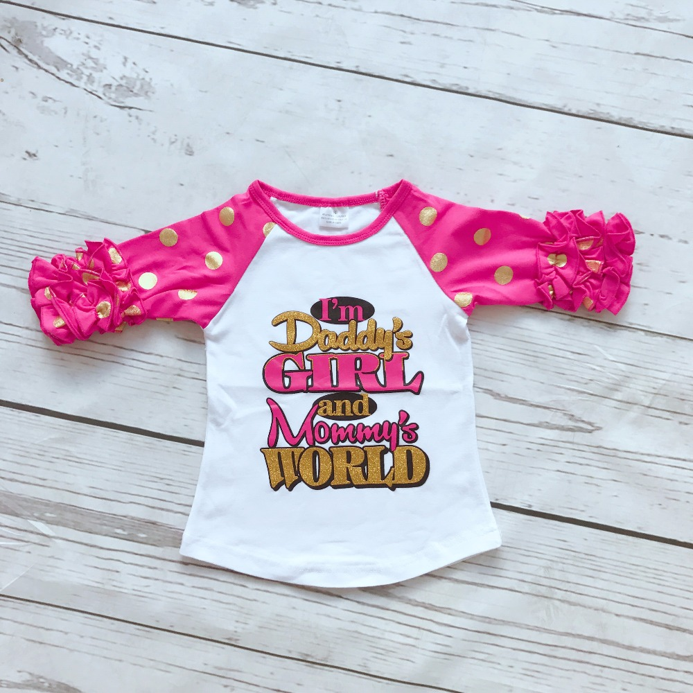 baby girls gold dot half cotton hot pink Im Daddys girls and mommys world boutique cute top shirts raglans clothes ruffles