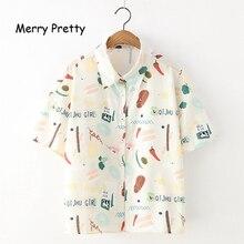 Merry Pretty Women Cartoon Print White Blouses 2019 Summer Short Sleeve Turndown Collar Shirts Womens Tops And Blouses turndown collar tartan print shirt