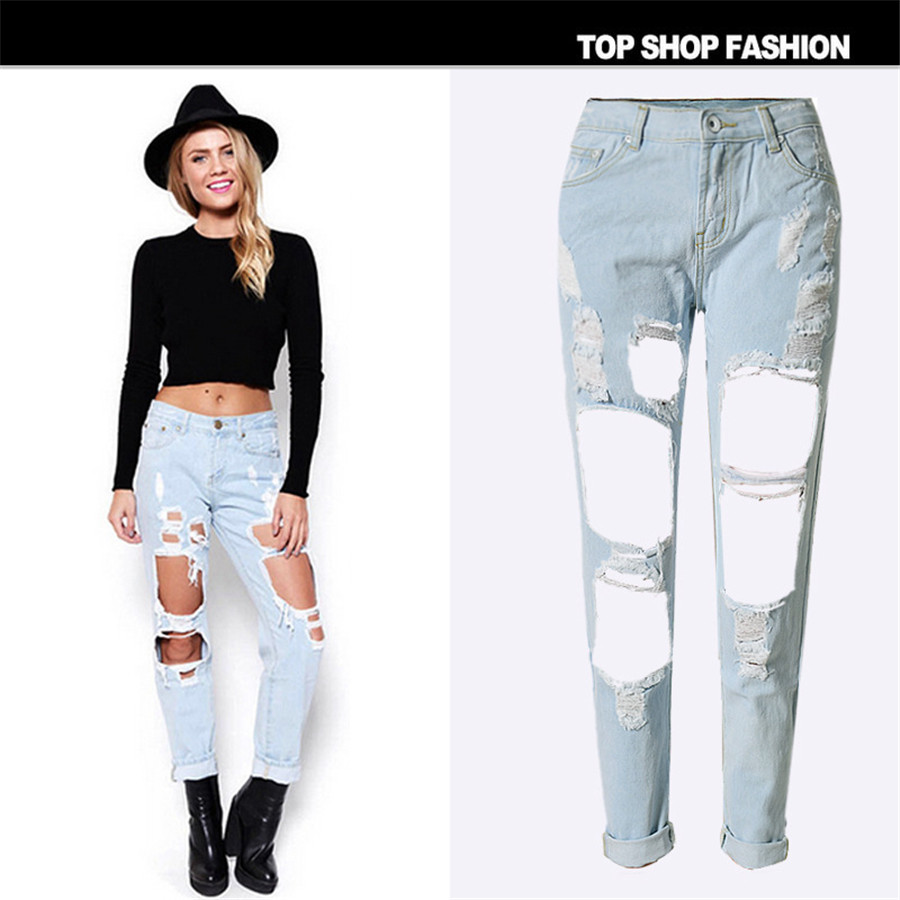 Ripped Bootcut Jeans For Women