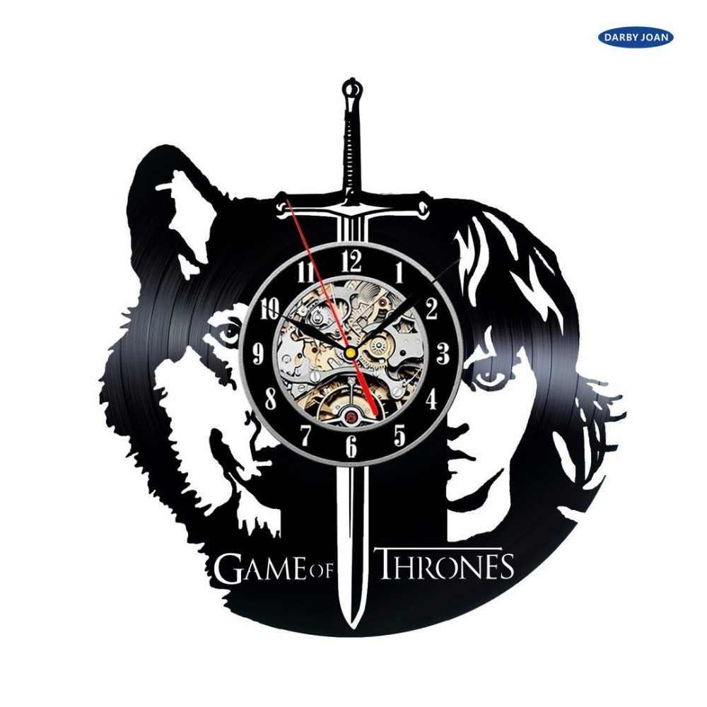 Juego de tronos tema vinilo pared reloj dormitorio decoración reloj, reloj de pared reloj despertador saat reloj de pared grande duvar saati cloc