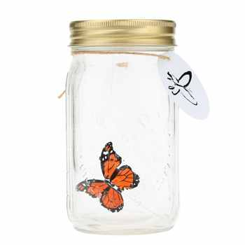 LIXF Hot Romantic Glass LED Lamp Butterfly Jar Valentine Children Gift Decoration Orange