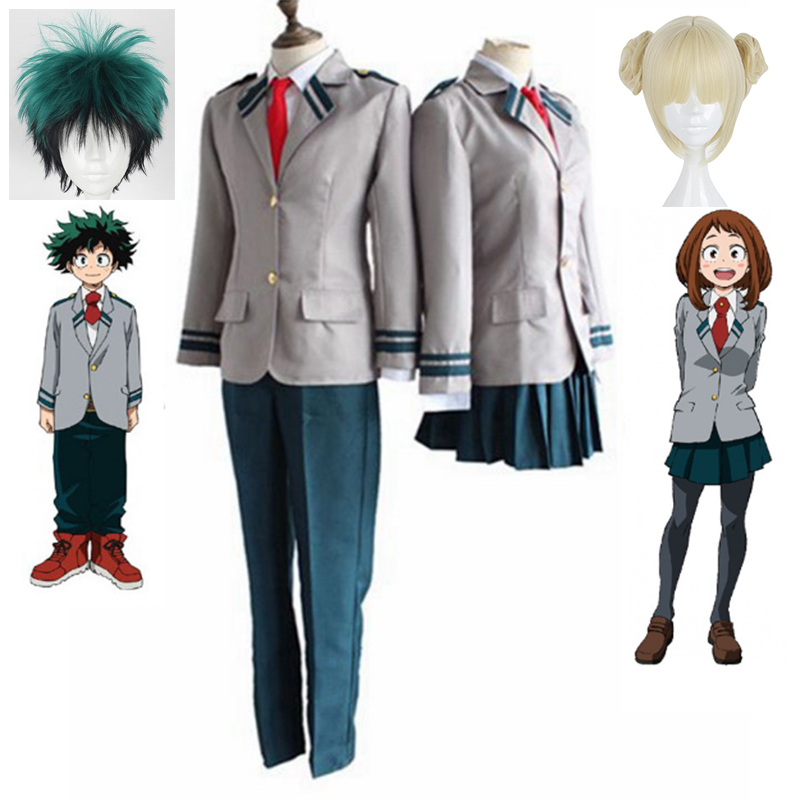 My Hero Academia OCHACO URARAKA Midoriya Izuku Cosplay Costume Boku no Academia AsuiTsuyu Yaoyorozu Momo School Uniform Wig