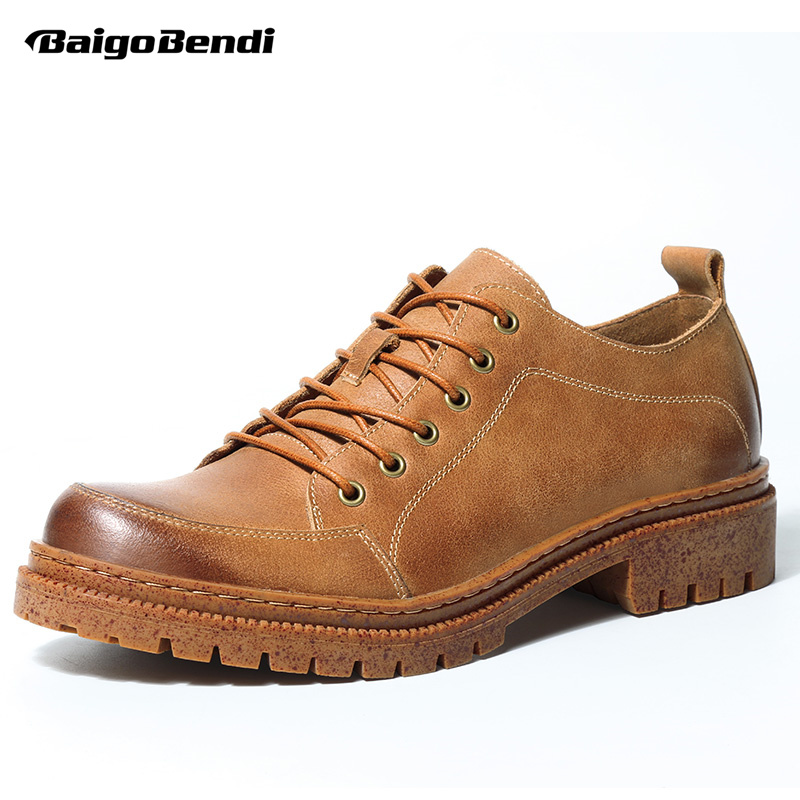 High-end Mens Retro Work And Safety Shoes Genuine Leather Round Toe Lace Up Oxfords Chukkas Man Casual Shoes top quality england style retro mens cow genuine leather brogue shoes male casual shoes lace up round toe breathable wing tip