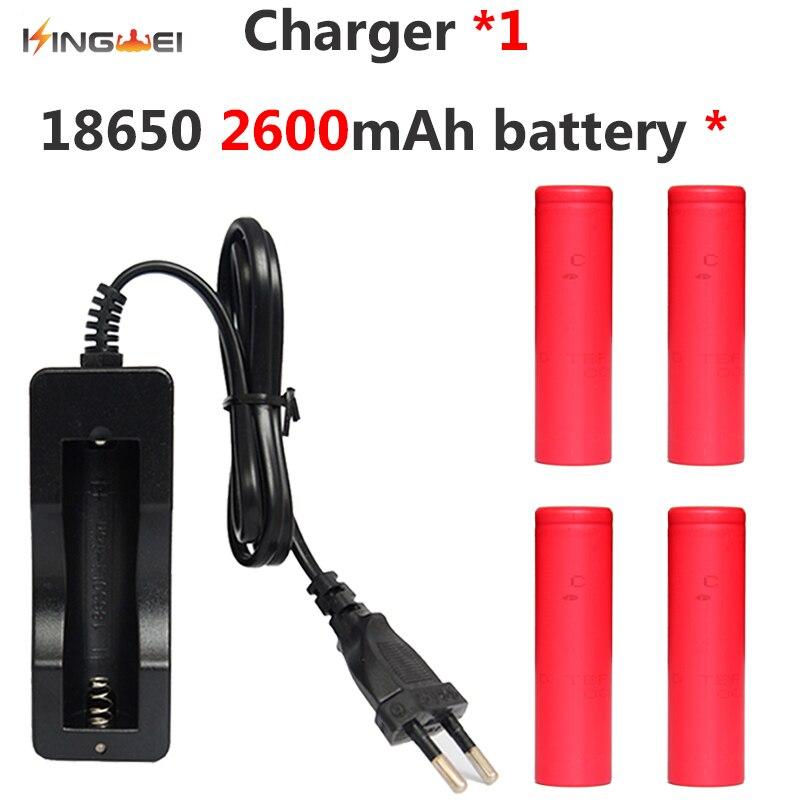 4x2600 mah batterie pour Sanyo 18650 Li-ion Lithium batterie Rechargeable + 1x18650 chargeur unique pour lampe de poche LED batterie externe