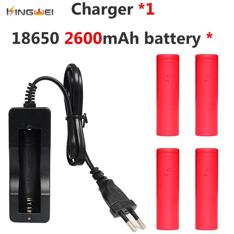 4x2600 mah batterie pour sanyo 18650 li-ion lithium rechargeable batterie + 1x18650 chargeur unique pour led lampe de poche puissance banque
