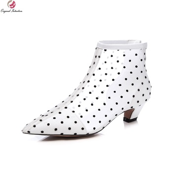 Original Intention Super Fashion Women Ankle Boots Polka Dots Spike Heels Black White Summer Shoes Woman Plus Size 4-10