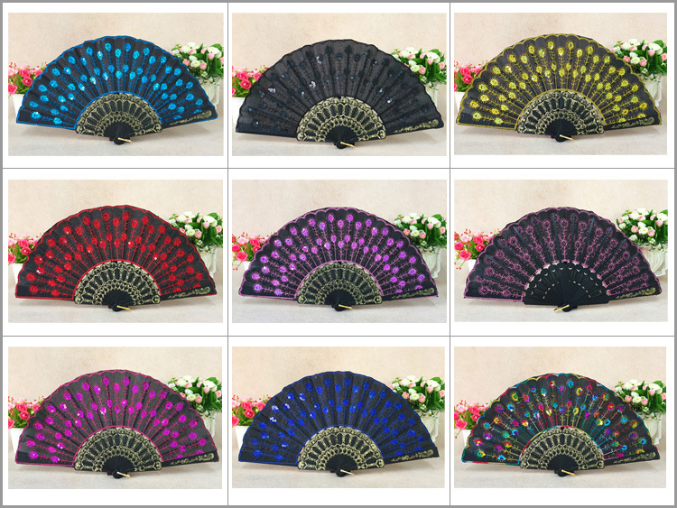 50 pieces lot New fashionable sequins peacock fan Handmade dance hand fans Dancing supplies Many