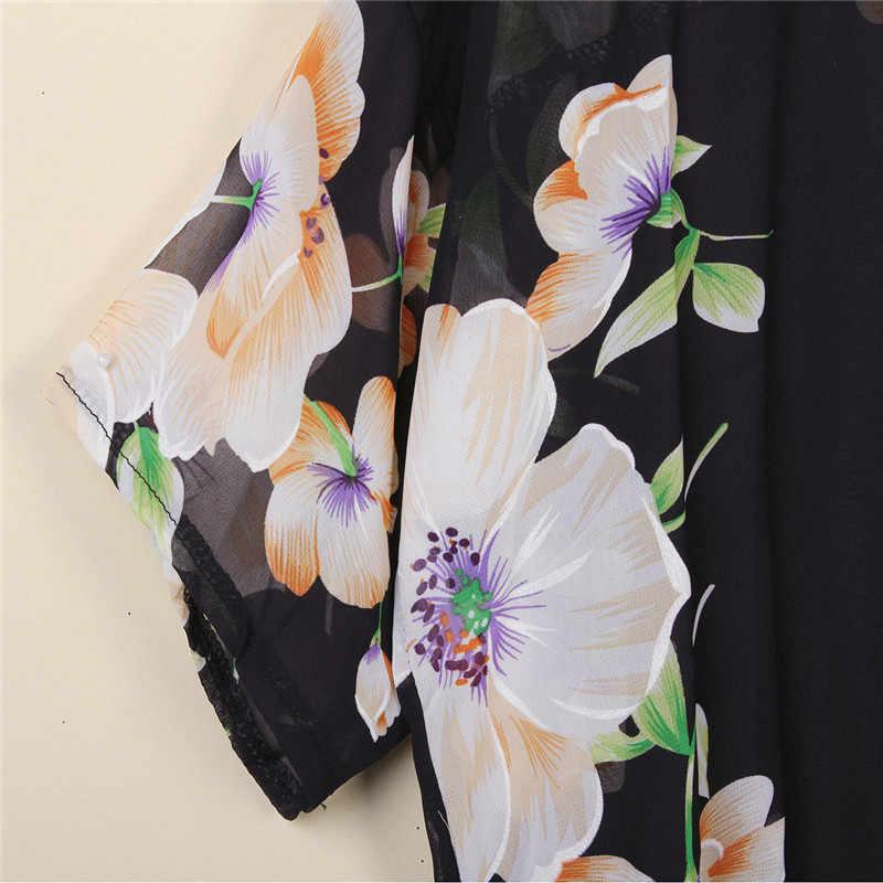 Blusas Лето 2019 г. Для Женщин Кимоно Кардиган повседневное Свободная шифоновая блуза рубашки для мальчиков Бохо с цветочным принтом Длинная Верхняя одежда плюс размеры