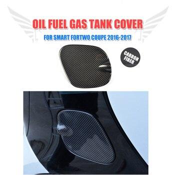 Carbon fiber Car Exterior Oil Gas Fuel Tank Cap Cover Trim Decoration for Mercedes-Benz Smart Fortwo Coupe 2-Door 2016-2017