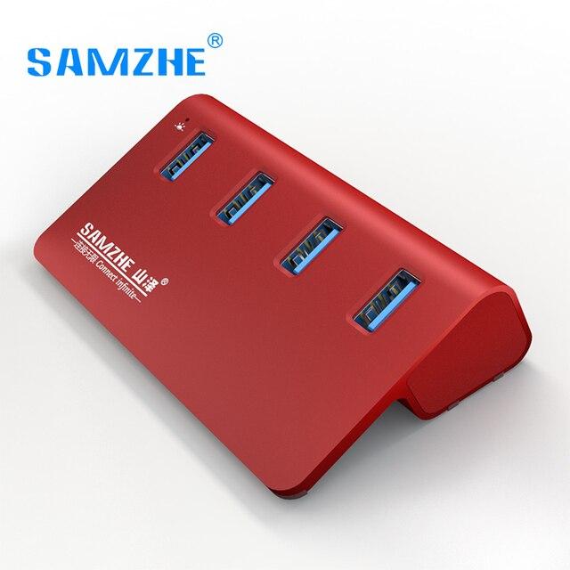SAMZHE Alta Velocidad USB 3.0 Hub de 4 Puertos de Extensión USB Divisor Adpater Para PC Portátil Macbook De Aluminio de Escritorio de Carga Del Teléfono